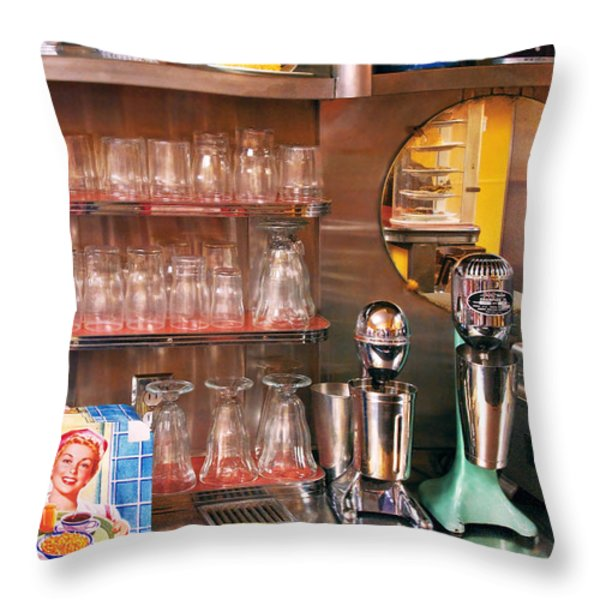 1950's - Diner - A 1950's Diner Throw Pillow by Mike Savad