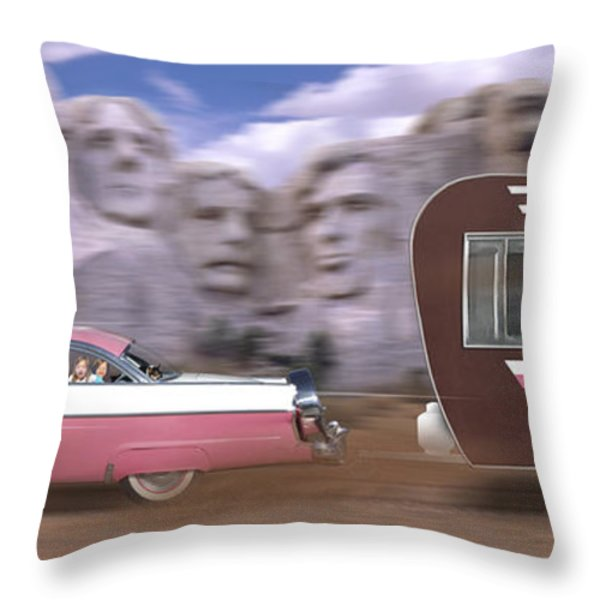 1950s Family Vacation Panoramic Throw Pillow by Mike McGlothlen
