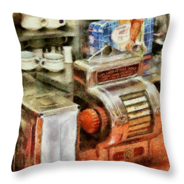 1950's - The Greasy Spoon Throw Pillow by Mike Savad