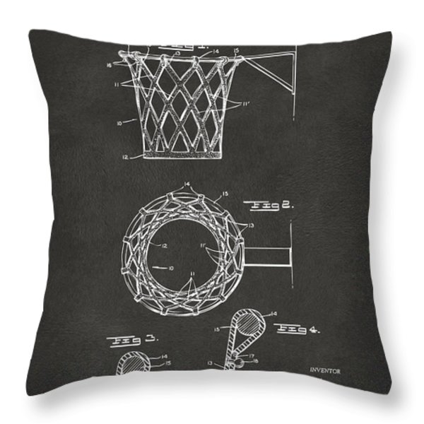 1951 Basketball Net Patent Artwork - Gray Throw Pillow by Nikki Marie Smith