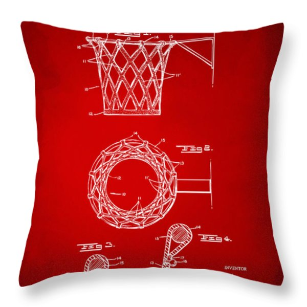 1951 Basketball Net Patent Artwork - Red Throw Pillow by Nikki Marie Smith