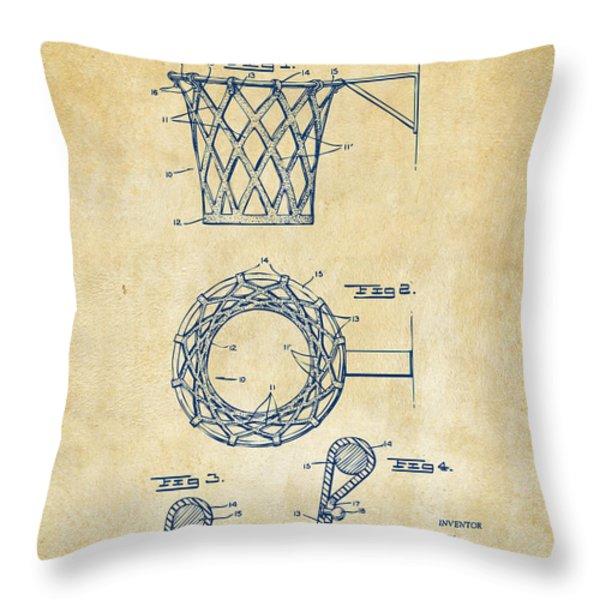 1951 Basketball Net Patent Artwork - Vintage Throw Pillow by Nikki Marie Smith