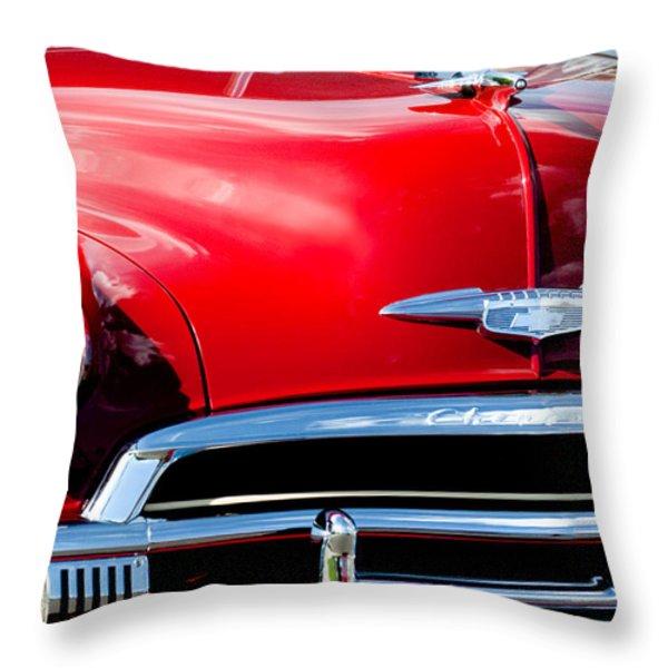 1951 Chevrolet Grille Emblem Throw Pillow by Jill Reger