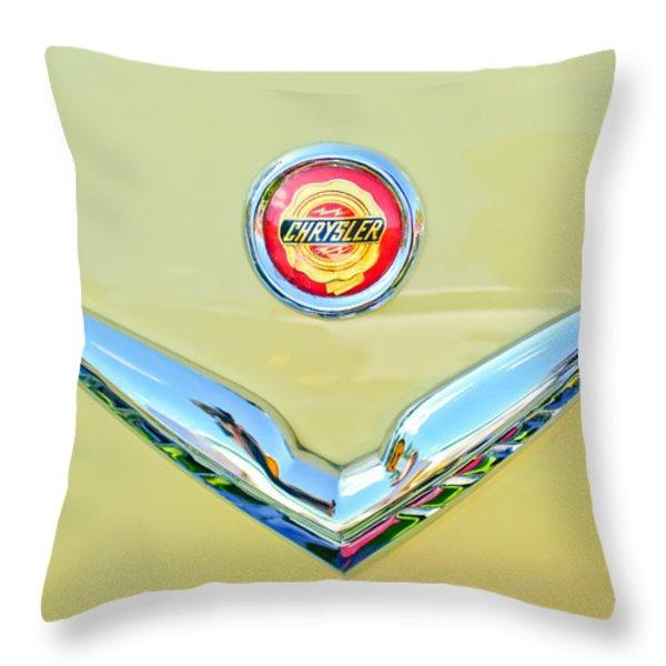 1951 Chrysler New Yorker Convertible Emblem Throw Pillow by Jill Reger