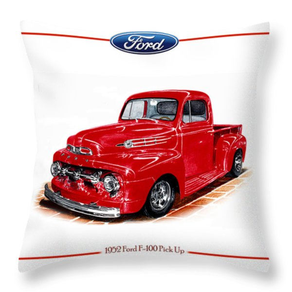 1952 Ford F-100 Pick Up Throw Pillow by Jack Pumphrey