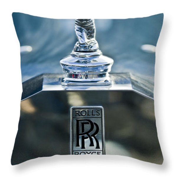 1952 Rolls-Royce Hood Ornament Throw Pillow by Jill Reger