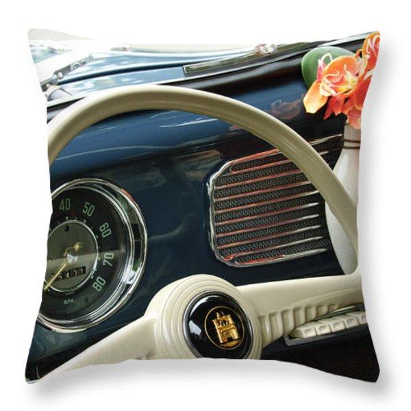 1952 Volkswagen VW Bug Steering Wheel Throw Pillow by Jill Reger