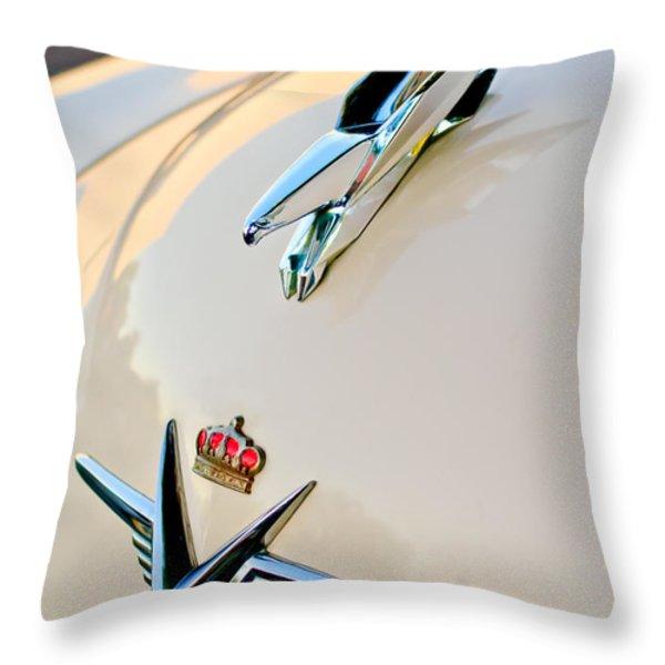 1953 Chrysler Imperial Custom Hood Ornament Throw Pillow by Jill Reger