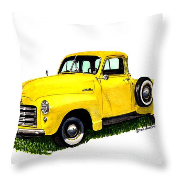 1953 G M C 5-Window Pick-up Throw Pillow by Jack Pumphrey