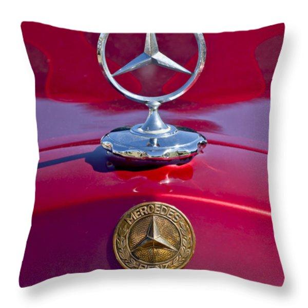 1953 Mercedes Benz Hood Ornament Throw Pillow by Jill Reger