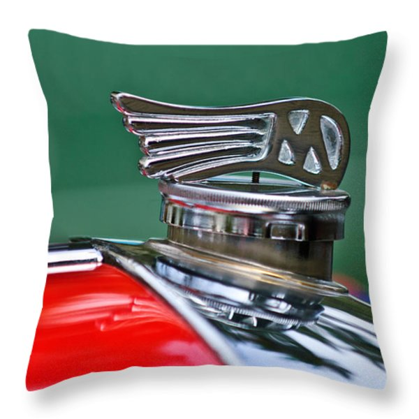 1953 Morgan Plus 4 Le Mans Tt Special Hood Ornament Throw Pillow by Jill Reger