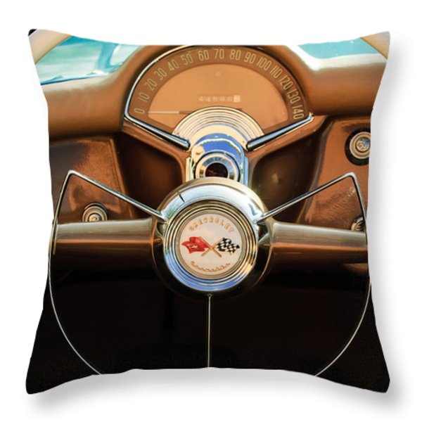 1954 Chevrolet Corvette Convertible  Steering Wheel Throw Pillow by Jill Reger