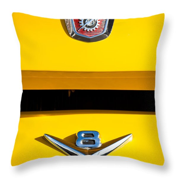 1954 Ford F-100 Custom Pickup Truck Emblems Throw Pillow by Jill Reger