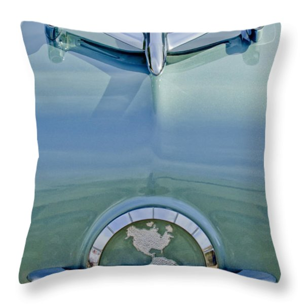 1954 Oldsmobile Super 88 Hood Ornament Throw Pillow by Jill Reger