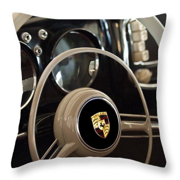 1954 Porsche 356 Bent-Window Coupe Steering Wheel Emblem Throw Pillow by Jill Reger