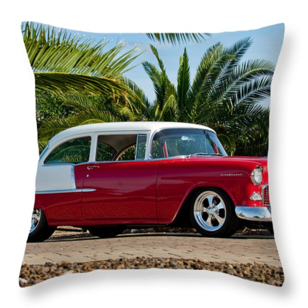 1955 Chevrolet 210 Throw Pillow by Jill Reger