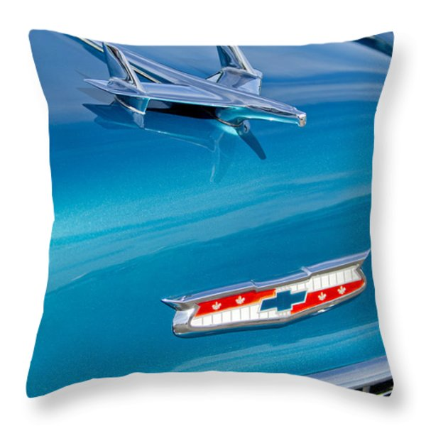 1955 Chevrolet Belair Hood Ornament 7 Throw Pillow by Jill Reger
