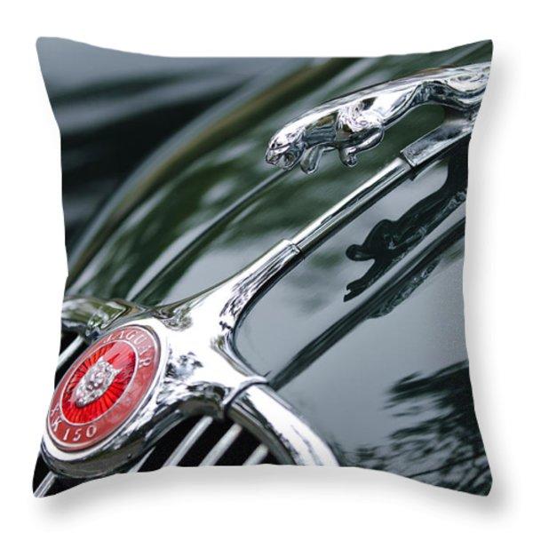 Jaguar XK 150 Hood Ornament  Throw Pillow by Jill Reger