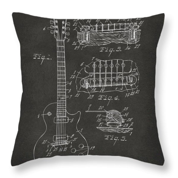 1955 Mccarty Gibson Les Paul Guitar Patent Artwork - Gray Throw Pillow by Nikki Marie Smith