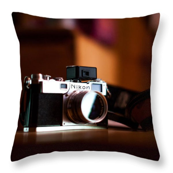 1955 Nikon S2 Throw Pillow by Aaron Aldrich