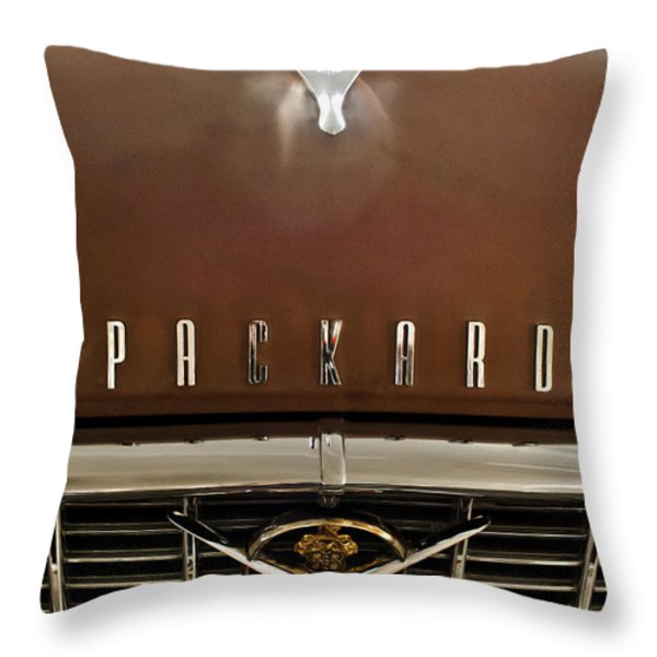 1955 Packard 400 Hood Ornament Throw Pillow by Jill Reger