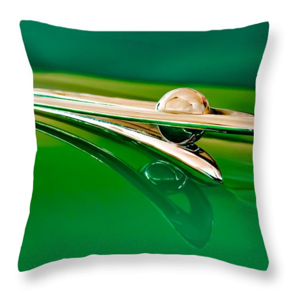 1955 Packard Clipper Hood Ornament 3 Throw Pillow by Jill Reger