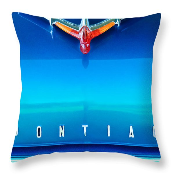 1955 Pontiac Safari Hood Ornament 4 Throw Pillow by Jill Reger