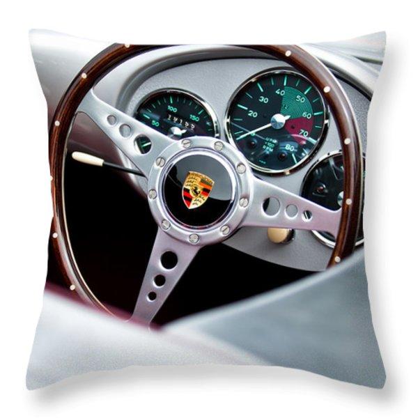 1955 Porsche Spyder Replica Steering Wheel Emblem Throw Pillow by Jill Reger