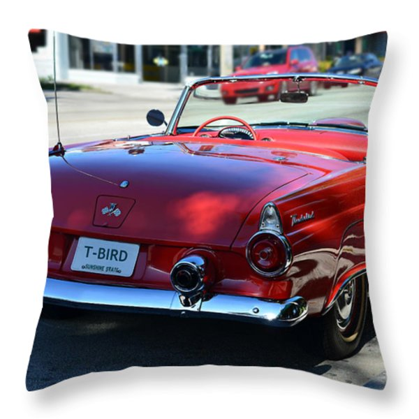 1955 T-bird Throw Pillow by Laura Fasulo