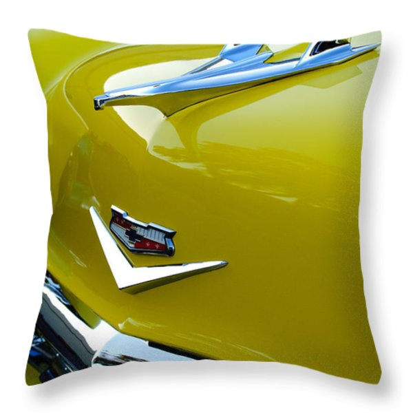 1956 Chevrolet Hood Ornament 3 Throw Pillow by Jill Reger