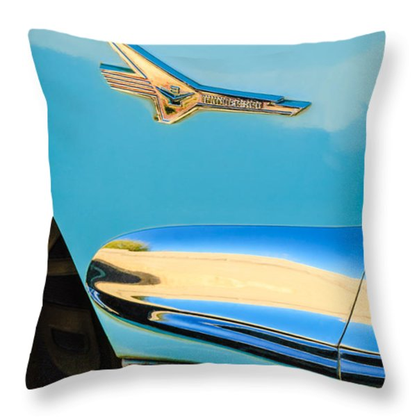1956 Ford Fairlane Thunderbird Emblem Throw Pillow by Jill Reger