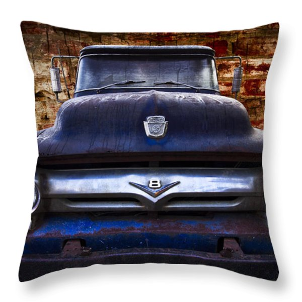 1956 Ford V8 Throw Pillow by Debra and Dave Vanderlaan