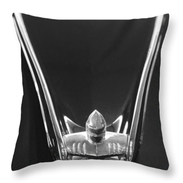 1956 Lincoln Premiere Convertible Hood Ornament 2 Throw Pillow by Jill Reger