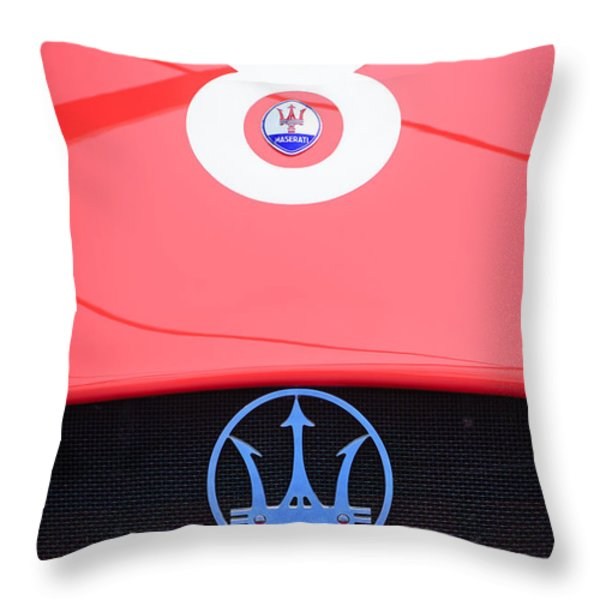 1956 Maserati 150s Grill Emblem - The Beels Racing Team Throw Pillow by Jill Reger