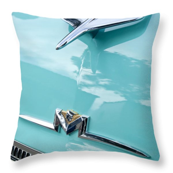 1956 Mercury Monterey Hood Ornament Throw Pillow by Jill Reger