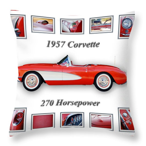 1957 Chevrolet Corvette Art Throw Pillow by Jill Reger