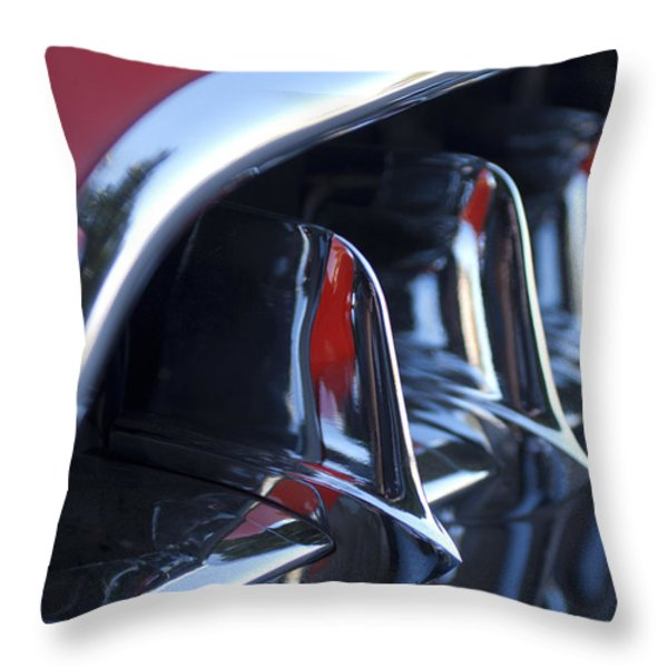 1957 Chevrolet Corvette Grille Throw Pillow by Jill Reger