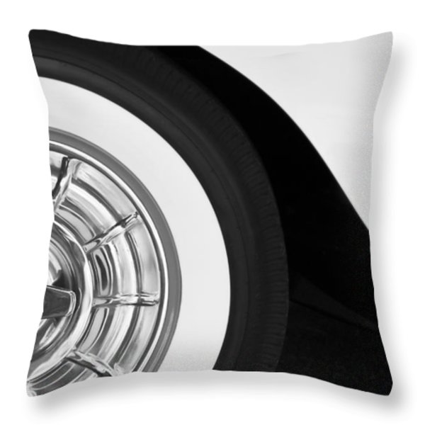 1957 Corvette Wheel Throw Pillow by Jill Reger