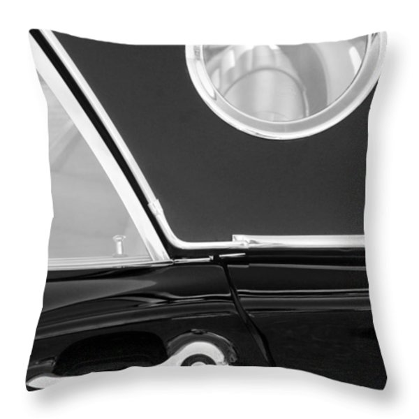 1957 Ford Thunderbird Window Black And White Throw Pillow by Jill Reger