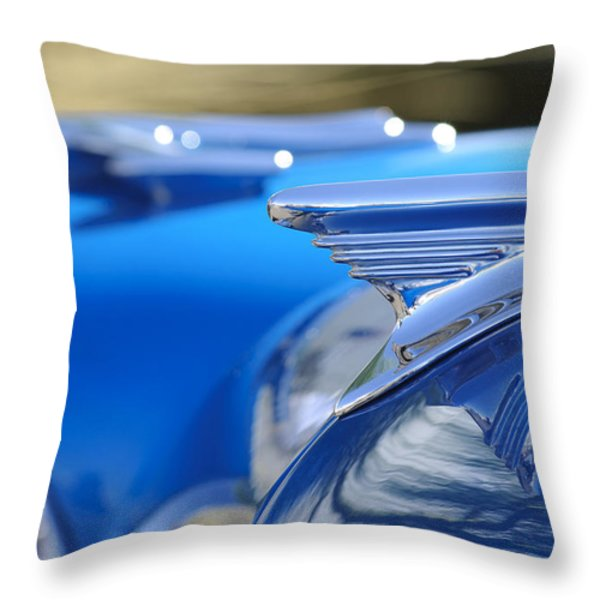 1957 Oldsmobile Hood Ornament 3 Throw Pillow by Jill Reger