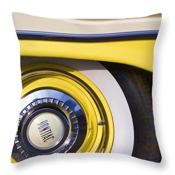 1957 Pontiac Starchief Wheel Cover Throw Pillow by Carol Leigh