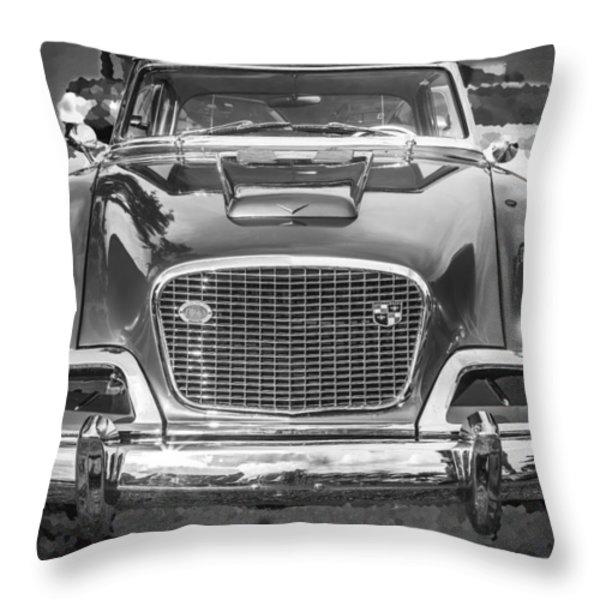 1957 Studebaker Golden Hawk BW Throw Pillow by Rich Franco