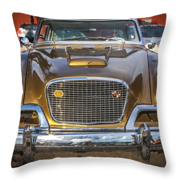 1957 Studebaker Golden Hawk  Throw Pillow by Rich Franco