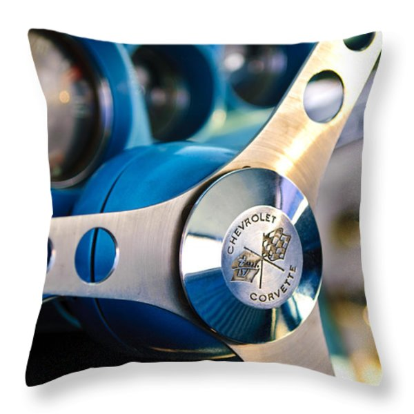1958 Chevrolet Corvette Steering Wheel Throw Pillow by Jill Reger