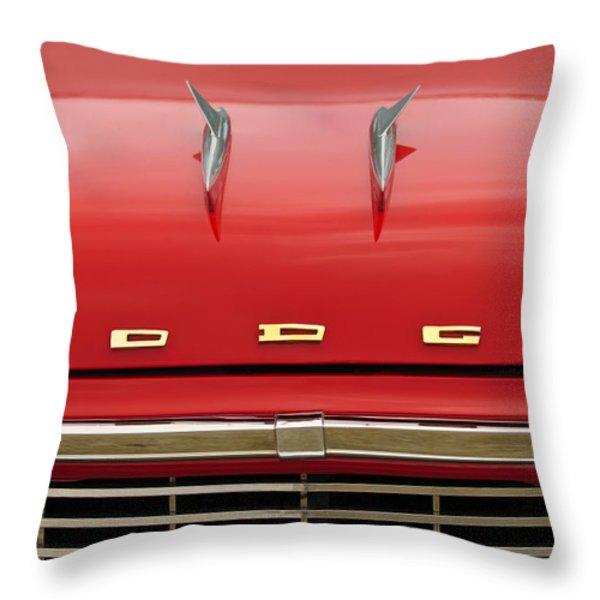 1958 Dodge Coronet Super D-500 Convertible Hood Ornament Throw Pillow by Jill Reger