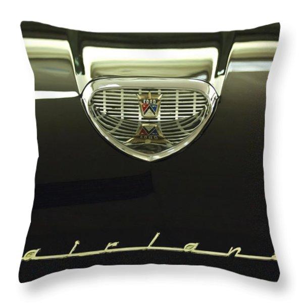1958 Ford Fairlane 500 Victoria Hood Ornament Throw Pillow by Jill Reger