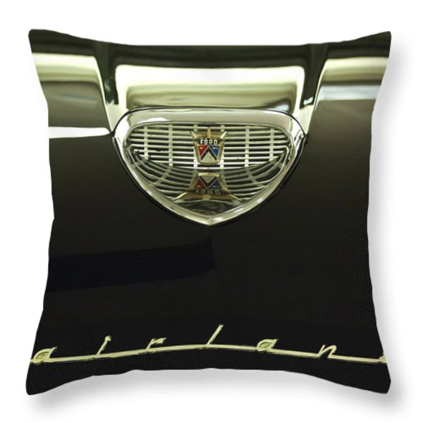 1958 Ford Fairlane 500 Victoria Hood Ornament Throw Pillow by Jill Reger