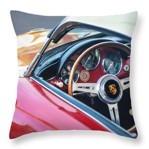 1958 Porsche 356 1600 Super Speedster Steering Wheel Throw Pillow by Jill Reger