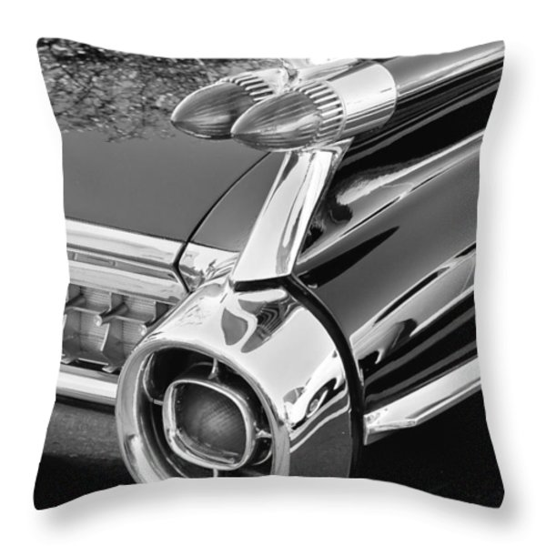 1959 Black and White Caddy Throw Pillow by Rich Franco