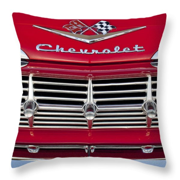 1959 Chevrolet Grille Ornament Throw Pillow by Jill Reger